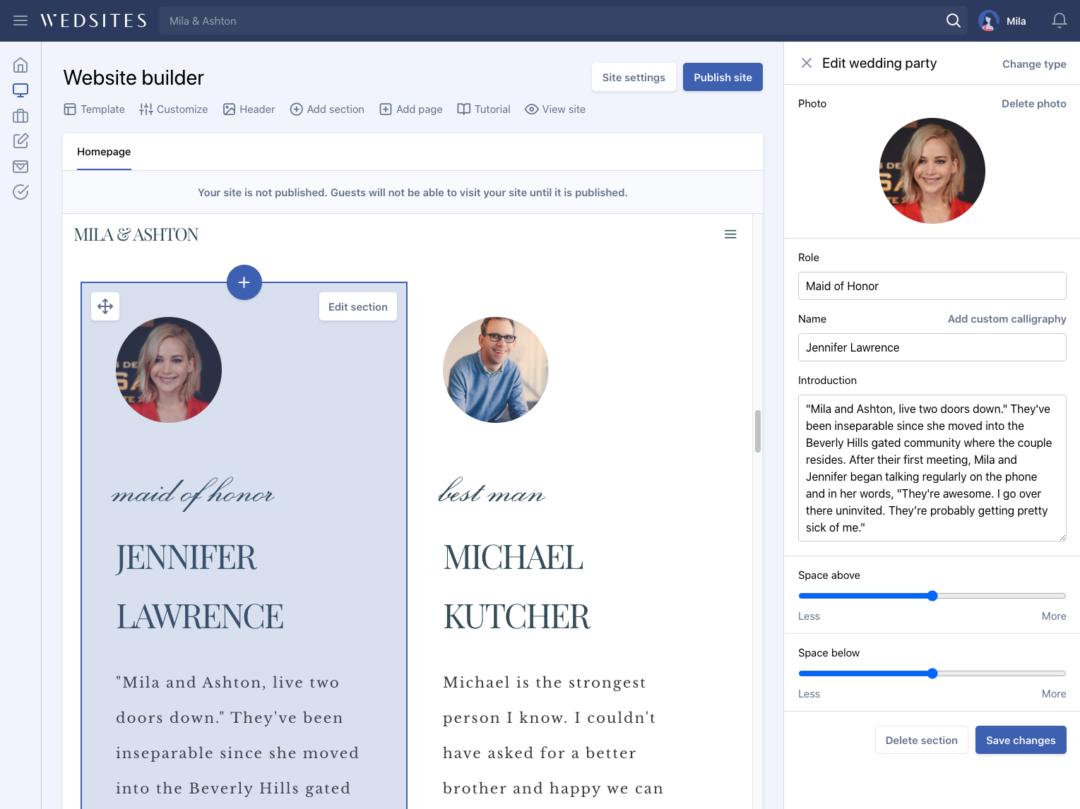 wedding website builder backend
