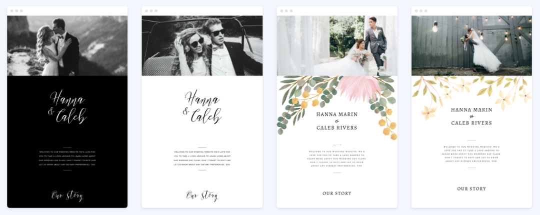 customizable wedding website templates from wedsites.com
