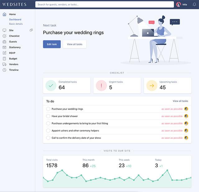 wedsites.com wedding planning dashboard