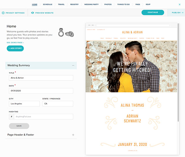 zola wedding website template